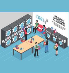 Laundry isometric concept vector