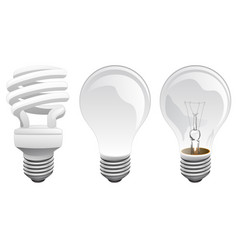 led and incandescent light bulbs vector image