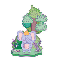 Little elephant in the landscape vector