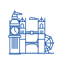 london line icon concept london flat vector image