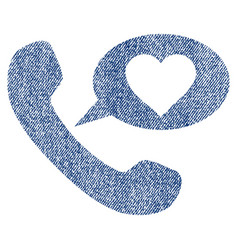 love phone message fabric textured icon vector image