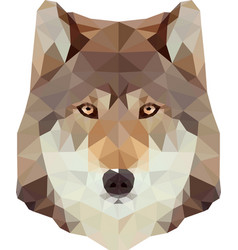 Low poly wolf head vector