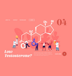 Male health landing page template tiny characters vector