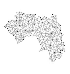 map of guinea from polygonal black lines and dots vector image