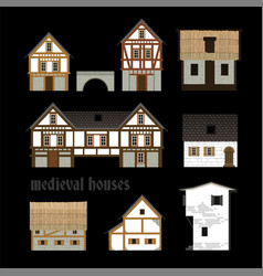 Medieval town houses vector