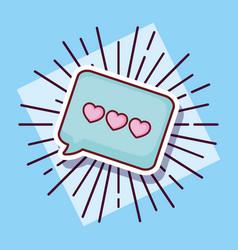 message bubble love hearts cartoon style vector image
