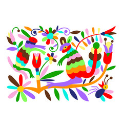 mexican tribal embroidary otomi style pattern with vector image