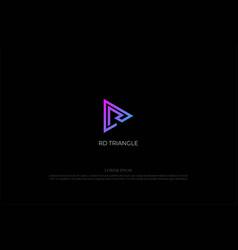 modern triangle play button rd dr monogram logo vector image