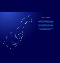 Monaco map from contours network blue vector