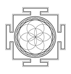 Monochrome outline seed life yantra vector