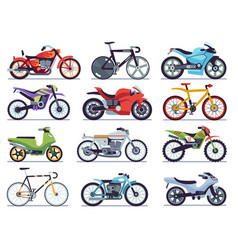 Motorbike set motorcycles and scooters bikes and vector