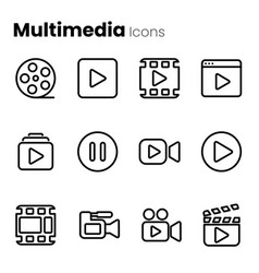 multimedia video player icon set vector image