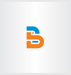 orange blue b letter logotype icon symbol vector image
