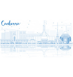 Outline canberra skyline with blue buildings and vector