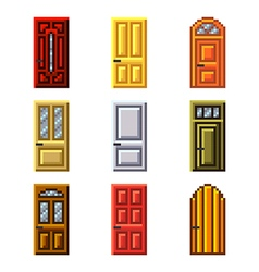 Pixel doors for games icons set vector
