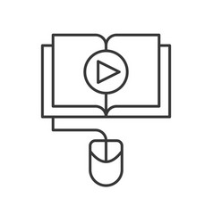 play button on book online education icon concept vector image