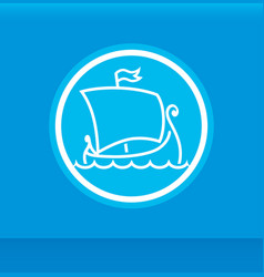 round emblem with scandinavian drakkar vector image