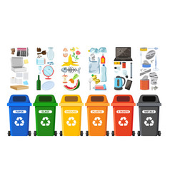 Rubbish bins for recycling different types of vector