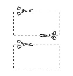 Scissors icon cutting coupons with dotted line vector