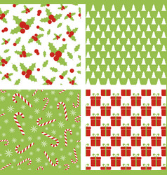 seamless christmas patterns set backgrounds vector image