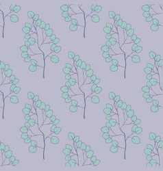 seamless pattern with plants on a purple vector image