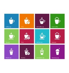 Set coffee cups icons on color background vector image vector image