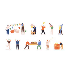 set happy people preparing for birthday party vector image