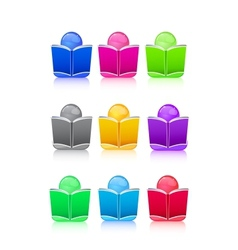 Set of Icon People with Colorful Book Sign vector image
