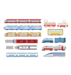 set train tram and metro top and side view city vector image