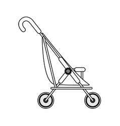 silhouette simple baby carriage and wheels vector image