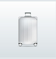 silver travel luggage on white background vector image