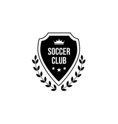 soccer club - flat black badge isolated on white vector image
