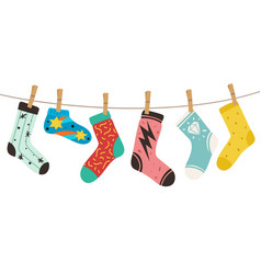 Socks on rope female male and kids vector