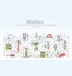 Thin line art workers poster banner vector