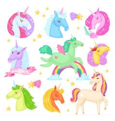 unicorn cartoon kids character girlish vector image