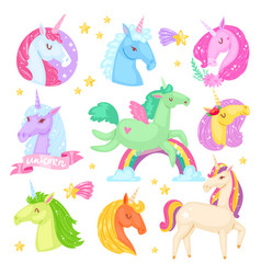 unicorn cartoon kids character of girlish vector image