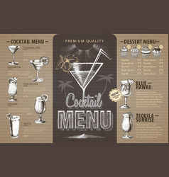 Vintage cocktail menu design on cardboard vector