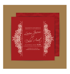 Vintage red double sided wedding card vector