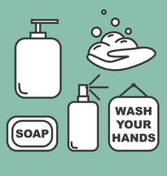 wash your hands set icons vector image