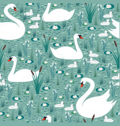 white swans with chicks swim in pond among vector image