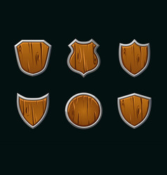 wooden shields in different shape empty vector image