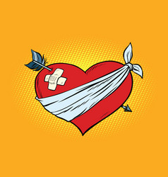 Wounded love red heart with cupid arrow vector