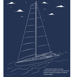 yacht race poster design with sail boat sketch vector image