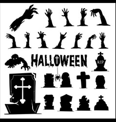 Zombie hands and graveyard silhouettes template vector