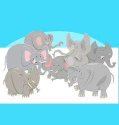 cartoon elephants animal characters group vector image vector image