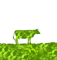 Cow silhouette graze in the field landscape grass vector image vector image