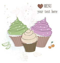 Cupcakes card vector image vector image