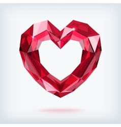 Faceted ruby heart vector image vector image