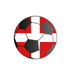 flag of Denmark and soccer ball vector image vector image