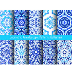 kaleidoscopic decorative blue backgrounds vector image